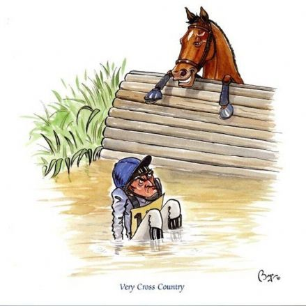 Bryn Parry Blank Greeting Card 'Very Cross Country'